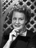 Shirley Booth on a Portrait in Black Dress and Stripe Collar with Chin Leaning on Hand Photo by  Movie Star News
