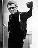 Steve McQueen Leaning Posed wearing Black Sweater in Black and White Portrait Photo by  Movie Star News