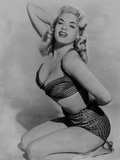 Jayne Mansfield Posed and Knelt on the Floor in Black Stripe Silk Strap Top and Girdle Photo by  Movie Star News