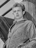 James Dean Portrait Leaning Back in White Gingham Long Sleeve Shirt with Hands on the Pocket Photo by  Movie Star News