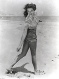 Jane Russell Posed in Silk Short Sleeve Shirt and Shorts while Walking on the Beach Sand Photo by  Movie Star News