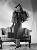 Barbara Stanwyck posed in Portrait wearing Elegant Dress and Furry Coat Photo by E Bachrach