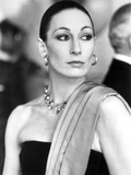 Anjelica Huston Looking Away wearing Earrings and Necklace Classic Portrait Photo by  Movie Star News