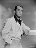 Alan Ladd Leaning on the Fence wearing a Glossy Suit in Black and White Portrait Photo by  Movie Star News