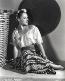 Paulette Goddard Seated and leaning wearing Blouse and Printed Skirt Portrait Photo by  Movie Star News