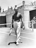 Fred Astaire Holding Tennis Racket in Black and White Photo by J Miehle