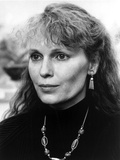 Mia Farrow Portrait wearing Black High Neck Blouse with Necklace Photo by  Movie Star News