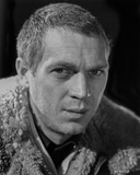 Steve McQueen wearing Fur Coat in Black and White Close Up Portrait Photo by  Movie Star News