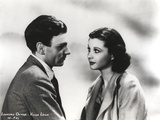 Laurence Olivier in Formal Outfit Black and White Couple Portrait Photo by  Movie Star News