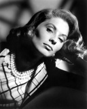 Suzy Parker wearing a Printed Blouse with Necklace and Earrings Photo by  Movie Star News