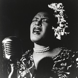 Billie Holiday singing in Black Dress with Flower on Head Portrait Photo by  Movie Star News