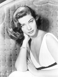 Lauren Bacall posed in White Corset Dress in Black and White Photo by  Movie Star News