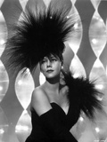 Maria Montez Posed in Black Strapless Dress with Black Feather Headdress Photo by  Movie Star News