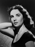 Elizabeth Taylor Looking Up in Black and White with Necklace Photo by CS Bull