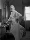 Jean Harlow Posed In front of a Dresser in Folded Top Silk Dress Photo by CS Bull