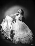 Marion Davies posed in White Ribbon Dress in Black and White Photo by  Movie Star News