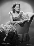 Maureen O'Hara Siting on Chair in Dress Black and White Photo by ER Richee