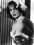 Abbe Lane Posed in Sexy Outfit in Stripe Background Classic Portrait Photo by  Movie Star News