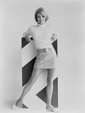 Angie Dickinson Posed in Sweater and Mini Skirt Black and White Photo by  Movie Star News
