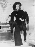 Marlene Dietrich standing in Black Dress with Black Shawl Photo by  Movie Star News