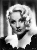 Marlene Dietrich in Black Floral Design Dress Close Up Portrait Photo by ER Richee