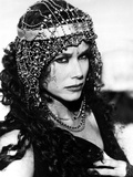 Barbara Hershey Pose wearing Metal Headdress in Black and White Portrait Photo by  Movie Star News