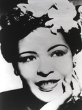 Billie Holiday smiling with Flower on Hair Black and White Portrait Photo by  Movie Star News