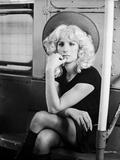 Barbra Streisand on a Dress sitting Cross-Legged Inside the Train Photo by  Movie Star News