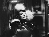 Marlene Dietrich Posed in Black Dress with White Fur Headdress Photo by  Movie Star News