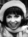 Talia Shire wearing a Furry Blouse with Crochet Shawl and Hat Photo by  Movie Star News