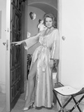 Angie Dickinson Leaning on the Wall Holding the Door wearing a Silk Robe Photo by  Movie Star News