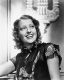 Jeanette MacDonald Posed in Black Short Sleeve Floral Silk Dress Photo by  Movie Star News