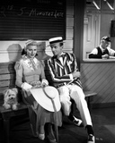 Fred Astaire and Ginger Rogers Seated on Bench with Dog Photo by  Movie Star News