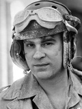 Dan Aykroyd Close Up Portrait wearing Helmet in Black and White Photo by  Movie Star News