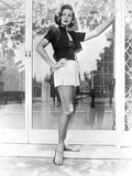 Lauren Bacall Pose wearing Black Top and Skirt in Black and White Photo by  Movie Star News