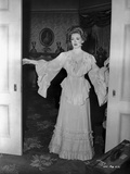 Bette Davis Posed in White Long Sleeve Ruffled Long Dress Photo by James Kerbe