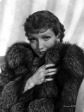 Claudette Colbert in Fur Dress with White Background Photo by  Walling