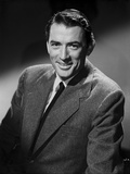 Gregory Peck smiling Posed wearing Black Suit Portrait Photo by Bert Six