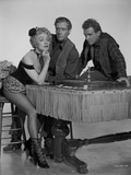 Marlene Dietrich Seated in Black and White with Two Men Photo by  Movie Star News