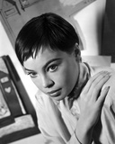 Leslie Caron Portrait Looking Sideways in Black and White Photo by  Movie Star News