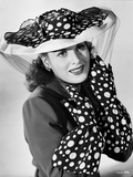 Maureen O'Hara Posed Black polka dot Hat and Gloves Photo by E Bachrach