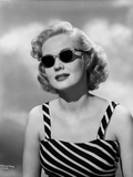 Virginia Mayo Posed in Striped Dress and Sunglasses Photo by  Movie Star News