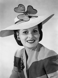Maureen O'Hara Portrait in White Hat with Clover Style Photo by E Bachrach