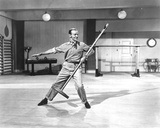 Fred Astaire Dancing with Broom in Black and White Photo by  Movie Star News