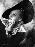 Madeleine Carroll Looking Up in Black Dress with Big Hat Photo by  Movie Star News
