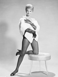 Angie Dickinson One Leg Kneeling on Table Black and White Photo by  Movie Star News