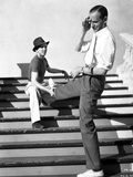 Fred Astaire Stretching Legs on Stairs Black and White Photo by  Hendrickson