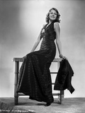 Rita Hayworth Posed in Black Gown in Black and White Photo by Robert Coburn