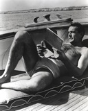 Sean Connery Laying in Black and White with Notebook Photo by  Movie Star News