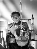 Peter Cushing Posed wearing Coat in Chemistry Laboratory Photo by  Movie Star News